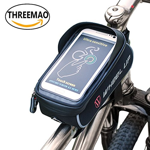 "THREEMAO Bike Bag Waterproof Bike Top Tube Bag Cycling Front Frame Bag Mobile Phone Holder ≤ 6"" Screen with Water Resistant Zipper (black and grey) (Bike Pouch)"