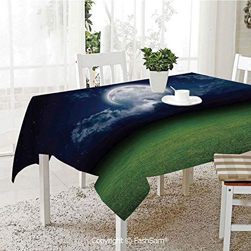 - AmaUncle Premium Waterproof Table Cover Grass Field Sports Stadium Under Cloudy Night Sky with Moon Lunar Mystic Table Protectors for Family Dinners (W55 xL72)