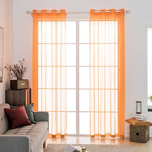 Orange Sheer - MIULEE 2 Panels Solid Color Orange Sheer Curtains Elegant Grommet Top Window Voile Panels/Drapes/Treatment for Bedroom Living Room (54X84 Inches)
