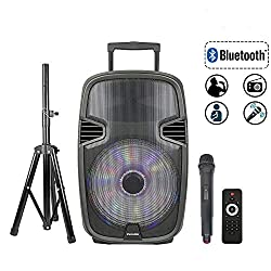 STARQUEEN 15Inch Portable Karaoke Speaker, Outdoor Rechargeable PA System with Wireless Microphone/Remote/Wheels/DJ Lights/Stand,Karaoke Party Amplifier Sound System with AUX/FM Radio/SD/USB