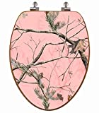 TOPSEAT 3D Upland Series Elongated Toilet Seat w/ Chromed Metal Hinges, Wood, Realtree Pink Camo