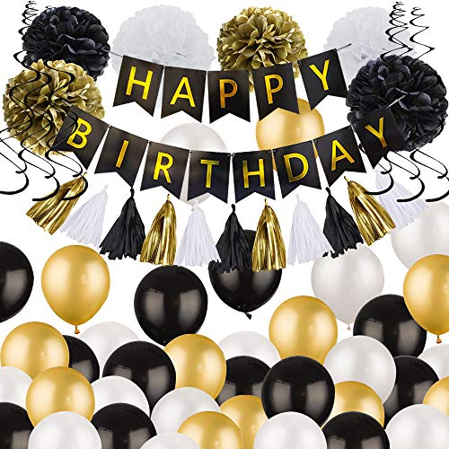 Birthday Decorations - Black and Gold Party Decorations Happy Birthday Decorations White Black and Gold Balloons Birthday Party Decorations For adult Women Men -