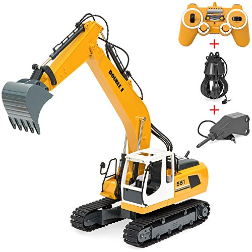 Best Choice Products 1/16 Scale Kids Multifunctional 17-Channel RC Excavator Construction Truck w/ Shovel, Drill, Grasp, Rechargeable Battery, USB Charger - Yellow