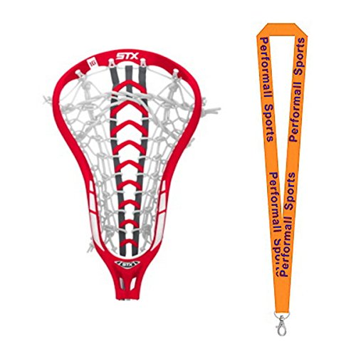 STX Bundle: Women's Exult 500 10 Degree 2015 Lacrosse Strung Head Red with 1 Performall Sports (Women Lacrosse Heads)