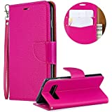 Luxury PU Leather Wallet Case for Samsung Galaxy S10,Flip Folio Case for Samsung Galaxy S10,Moiky Rose Red Multifunctional Magnetic Kickstand Case Cover With Wrist Strap and ID&Credit Cards Slots
