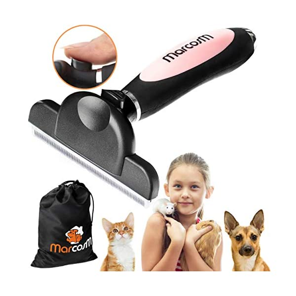 MarcosM Dog Brushes Shedding – Professional Deshedding Tool Dogs Cats Blade Fur Ejector Button Drawstring Storage Pouch… Click on image for further info.