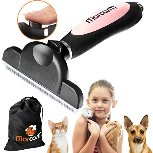 MarcosM Dog Brushes for Shedding - Professional Deshedding Tool for Dogs and Cats with Blade and Fur Ejector Button and Drawstring Storage Pouch (L, Pink) (Brush Cat Body)