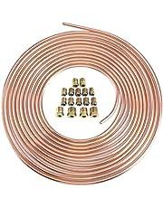 Rfvtgb Copper Nickel Brake Line Tubing Kit 1/4Inch OD 25 Ft Coil Roll Tube & 16 Pcs Tube Nut Fittings