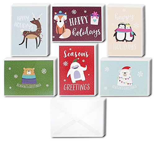 48 Pack of Christmas Winter Holiday Family Greeting Cards - Cute Animals in the Snow Designs - Boxed with 48 Count White Envelopes Included - 4.5 x 6.25 Inches (Card Kids Christmas For Designs)