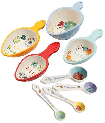 Pioneer Tool - The Pioneer Woman Willow 8 Piece Measuring Scoops and Spring Floral Ceramic Measuring Spoons Set