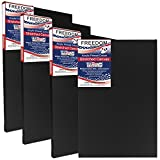 US Art Supply 18 x 24 inch Black Professional Quality Acid Free Stretched Canvas 4-Pack - 3/4 Profile 12 Ounce Primed Gesso - (1 Full Case of 4 Single Canvases)