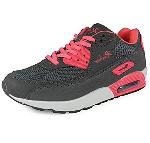 Womens Up Ladies UK Grey Flat Size Lace New Jogging Uk Girls Shoes Trainers Running Fuchsia LoudLook 3 8 Walking 5ExqXY