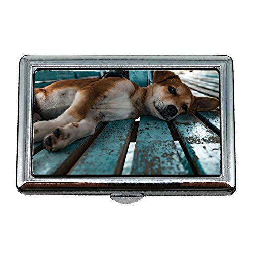 Cigarette Storage Case/Box,Puppy Laying Dog Pet Animal Canine Cute Baby,Business Card Holder Business Card Case Stainless