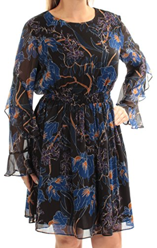 INC Womens Floral Print Fit & Flare Cocktail Dress Blue L