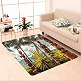 Nalahome Custom carpet ical Island Ocean Hawaii Tiki Mask Art Pictures Fine Art ations Fabric Brown Mustard Green White area rugs for Living Dining Room Bedroom Hallway Office Carpet (6' X 9')