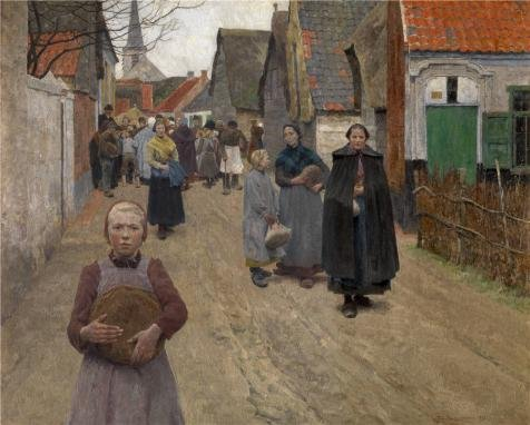 [The Perfect Effect Canvas Of Oil Painting 'Bread Distribution In The Village By Frans Van Leemputten,1892' ,size: 30x37 Inch / 76x95 Cm ,this Amazing Art Decorative Canvas Prints Is Fit For Study Decoration And Home Artwork And] (Stink Bug Halloween Costume)
