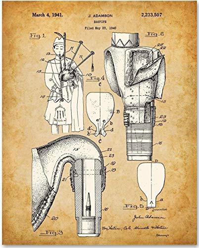 Bagpipes - 11x14 Unframed Patent Print - Makes a Great Gift Under $15 for - Personalized Gift Band T-shirt