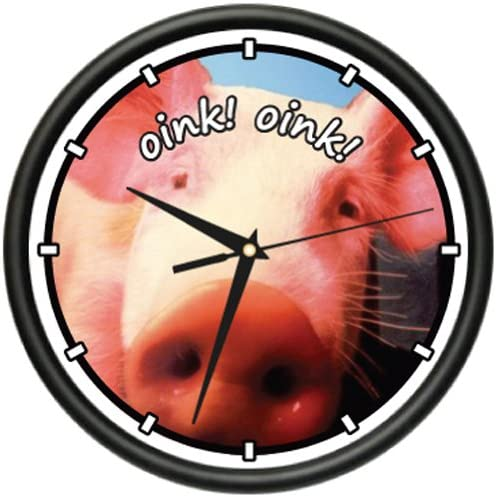 Pig 1 Wall Clock Pigs Piglet Farm Country Decor Gift