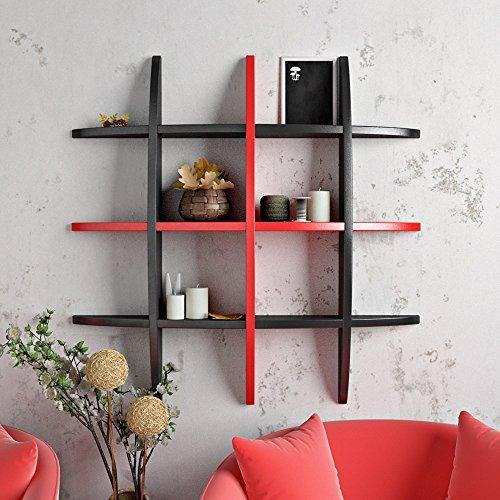 Artesia Black  amp; RedDecorative MDF Wall Shelf