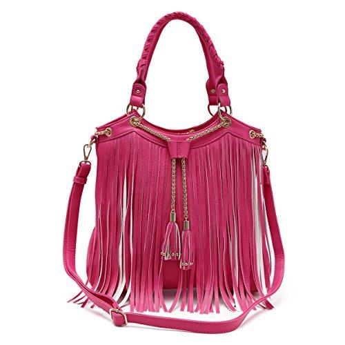 Hot Pink Fringe Tassel Vegan Hobo Concealed Carry Purse Handbag Shoulder Bag TravelNut Best Unique Cool Birthday Valentines Day Gift Idea Women Her Wife