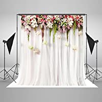 Kingsky 5x7ft(1.5x2.2m) White Wedding Photography Backdrops No Wrinkles Cotton Photo Booth Backgrounds