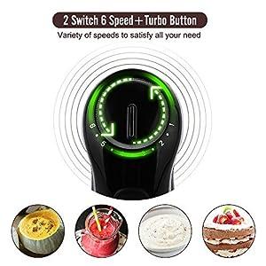 OXA Smart Powerful Immersion Hand Blender, Variable 6 Speed Control, Detachable Shaft, Slip-proof Ergonomic Grip-Black (Stick Blender)