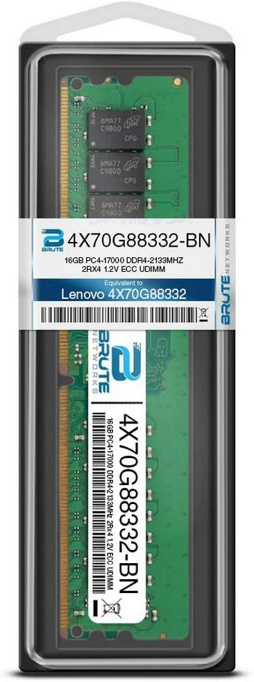 16GB PC4-17000 DDR4-2133Mhz 2RX8 1.2v ECC UDIMM Brute Networks 4X70G88332-BN Equivalent to OEM PN # 4X70G88332