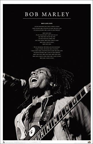 Black and White REGGAE MUSIC POSTER Bob Marley Iron Lion Zion