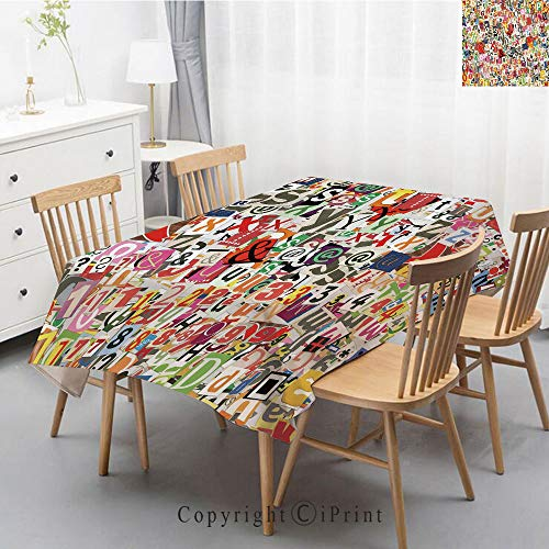 Pure Linen Plain Tablecloth Athena,Natural Rectangular Table Cloth for Indoor and Outdoor Use,Natural Tablecloth,40x60 Inch,Old Newspaper Decor,Various Kinds of Newpaper Magazine Letters Cutouts Alpha