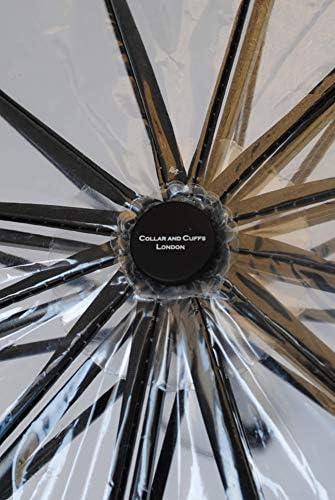 COLLAR AND CUFFS LONDON Fuerte Paraguas Compacto Plegable Apertura y Cierre Autom/ático Transparente Raro 80 km//h 12 Varillas A Prueba DE Viento