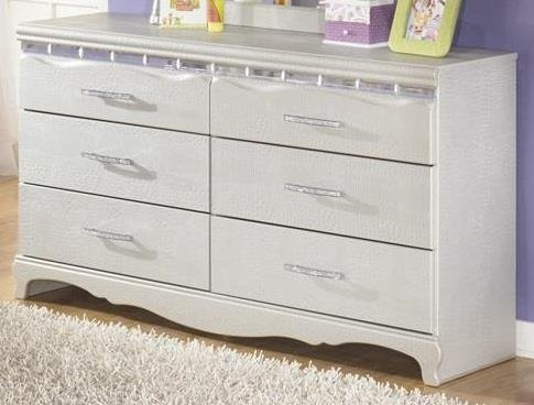 Ashley Furniture Signature Design - Zarollina Dresser - 6 Drawers - Kids Room - Faux Crystal Accents - Silver by Sierra Sleep by Ashley