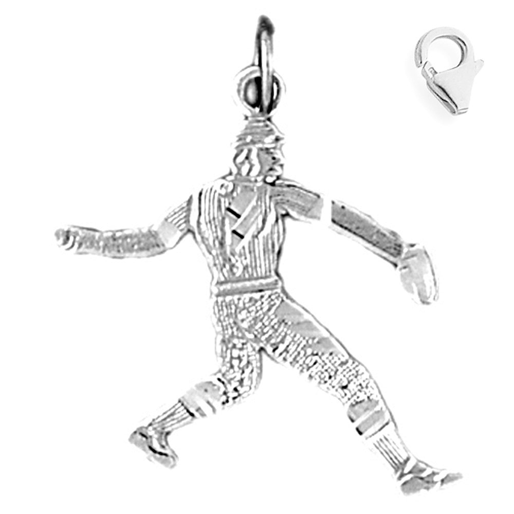 Sterling Silver 27mm Baseball Player with 7.5 Charm Bracelet Jewels Obsession Baseball Player Pendant