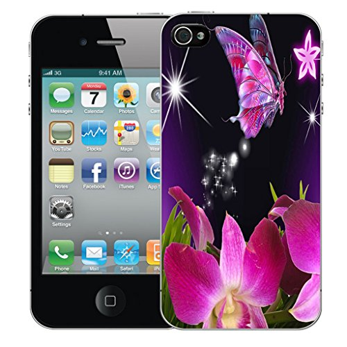 Mobile Case Mate iPhone 5 Silicone Coque couverture case cover Pare-chocs + STYLET - Pink Star Butterfly pattern (SILICON)