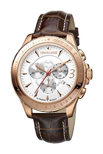 Roberto Cavalli by Franck Muller (PU5E5) Men's 'ROUND Chrono' Quartz Stainless Steel and Leather Casual Watch, Color:Brown (Model: RV1G014L0026)