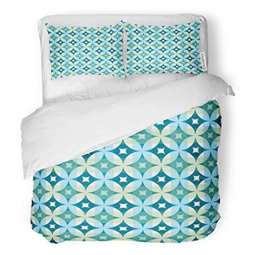 SanChic Duvet Cover Set Century Abstract Vintage Geometric Pattern Mid Modern Argyle Decorative Bedding Set with 2 Pillow Cases Full/Queen Size