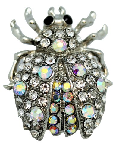 Silver Tone Beetle Brooch - Elegant Cubic Zirconia Brillante Broach
