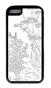 Hand Painted Bamboo And The Magpies Lovely Mobile Phone Protection Shell For iPhone 5c Cases - Unique Cool Black Soft Edge Case