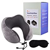 Meedo Comfort 100% Pure Memory Foam Neck Pillow Airplane Travel Kit With Ultra Plush Velour Cover and Sleep Mask on a Train, Airplane, Car, Bus or while Camping