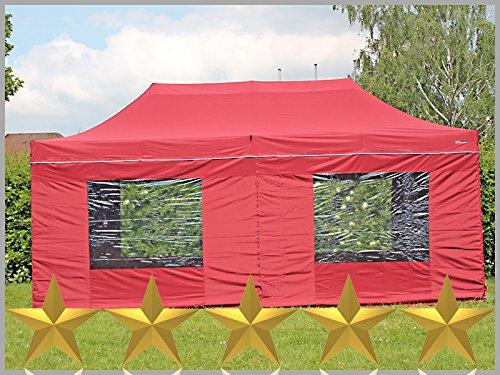 Faltzelt Faltpavillon 3x6m 6x3m bordeaux mit 6 Seitenteilen Partyzelt Pavillon Verkaufszelt wasserdicht
