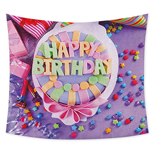 Grateful Dead Birthday Cake (Birthday Grateful Dead Tapestry Delicious Birthday Cake on a Table with Stars and Presents Party Yummy Dessert Wall Decor for Bedroom Tapestry W80 x L60 Inch)