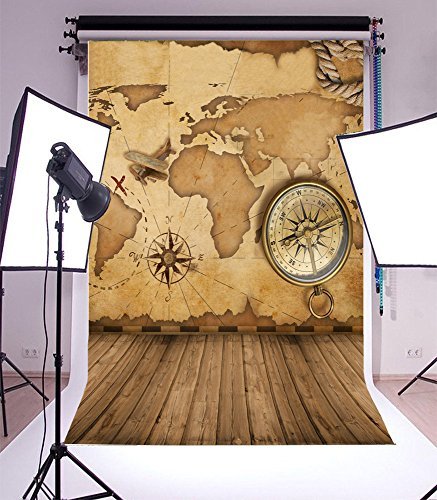 Vintage World Map Compass Wood Backdrop Laeacco 5x7ft Vinyl Thin Photography Background Vintage Wood Floor Backdrop,1.5x2.2m Studio Props