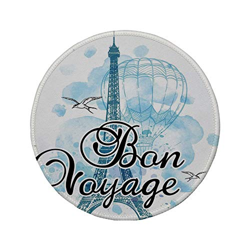 Non-Slip Rubber Round Mouse Pad,Going Away Party Decorations,Eiffel Tower Air Balloon Watercolor Bon Voyage Bird,Light Blue Black Blue,11.8