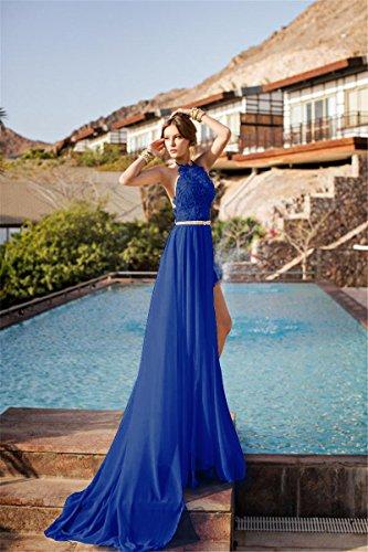 Babyonlinedress Vestido largo de fiesta de boda cuello de halter sin espalda estilo A line y elegante vestido de satén y gasa azul marino