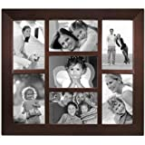 Malden 2009-70 Berkeley 4 by 6 Beveled Wood Edge 7 Opening Collage Frames, Walnut