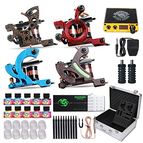 Dragonhawk Complete Tattoo Kit 4 Standard Tunings Tattoo Machines Power Supply 10 Color Immortal Tattoo Inks 50 Needles Tips Grips with Case D139GD (Swashdrive Tattoo Machine)