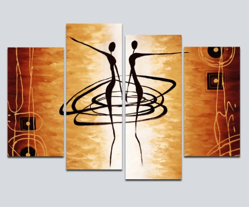 Abstract Figure Art (Wieco Art Large 4 Piece Modern Stretched and Framed Giclee Canvas Prints Abstract African Figures Dancing Oil Paintings Style Pictures on Canvas Wall Art for Living Room Bedroom Home Decorations)
