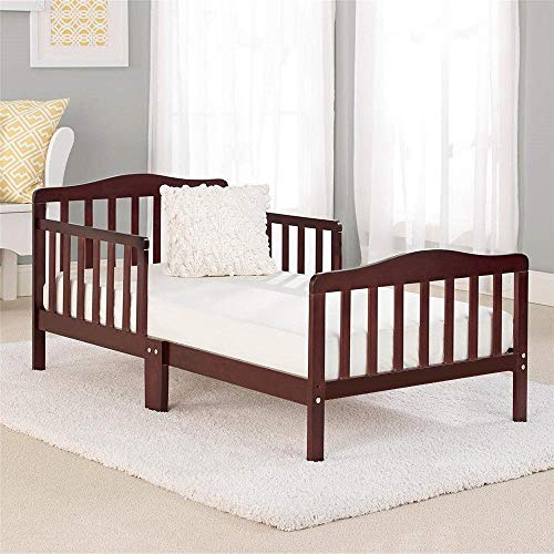MTFY Wooden Baby Toddler Bed,Toddler Bed Rail Guard for Kids,Modern Children Bedroom Furniture for Extra Safety,Great for Boys and Girls (Brown)
