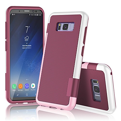 Galaxy S8 Plus Case, Samsung S8+ Case, TILL(TM) Ultra Slim 3 Color Hybrid Impact Anti-slip Shockproof Soft TPU Hard PC Bumper [Build In Card Slot] Wallet Case Cover For Galaxy S8+ 6.2 Inch [Wine]