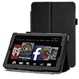 All New Fire HD 7 Case - WAWO Premium PU Leather Folio Case for Amazon Fire HD 7.0 inch 4th Generation (2014) Tablet (With Smart Cover Auto Wake / Sleep) - Black