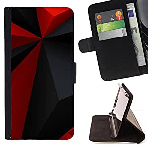 BullDog Case - FOR/Sony Xperia Z3 D6603 / - / red polygon pattern grey black modern /- Monedero de cuero de la PU Llevar cubierta de la caja con el ID Credit Card Slots Flip funda de cuer